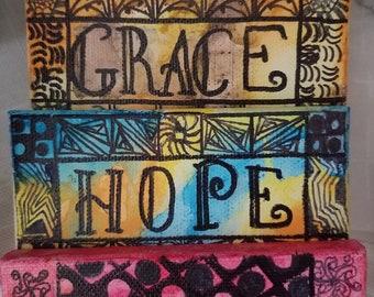 Keepsake art: Faith, Hope, Truth, Grace. CindysZensations