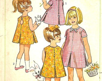 1960's Simplicity 6991 Little Girls Size 4 Peek-A-Boo Back And Inverted Pleat Dress Pattern
