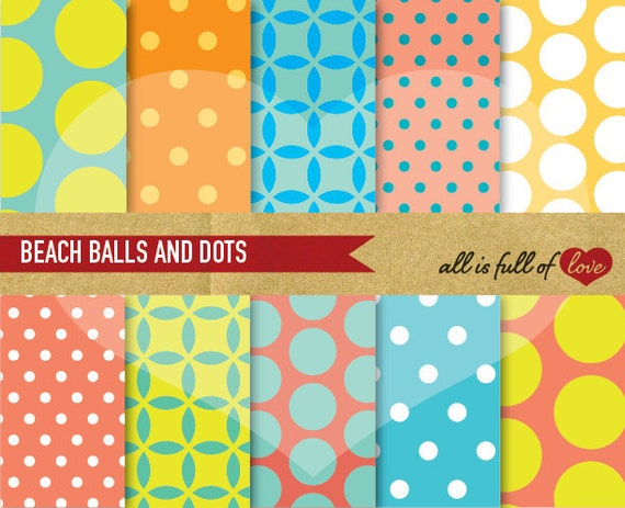 Scrapbooking Digital Paper Pack BEACH Polka Dots Backgrounds