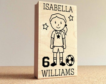 Girl's Personalized Soccer Rubber Stamp, Custom Soccer Rubber Stamp - Choose Hairstyle and Accessories