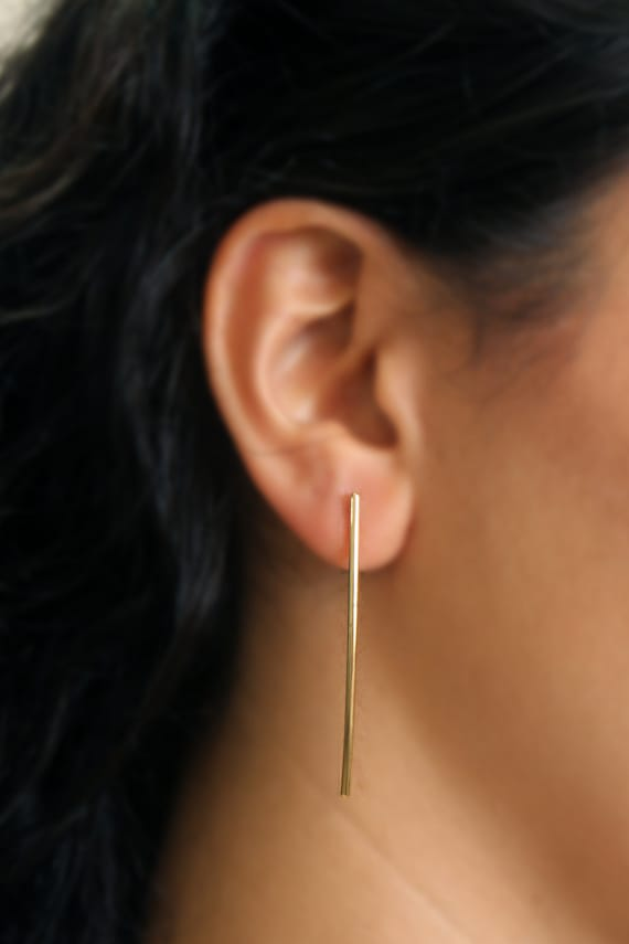 Well known Minimalist Long Gold Bars Earrings Slim Bar Posts Simple DG28
