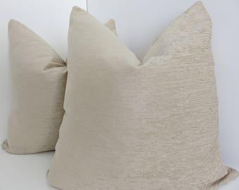 Cream Pillow Covers-  Cream Chenille Pillows- Accent Chenille Pillow- Solid Cream Chenille Pillows