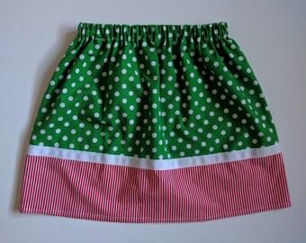 Girl's Christmas Skirt - Holiday Skirt - Polka Dots