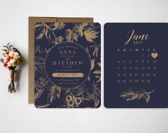Save the Date  Wedding Save the Date  Wedding Invitation  Foliage Invitation  Save the Date Postcard  Foliage  Navy and Gold