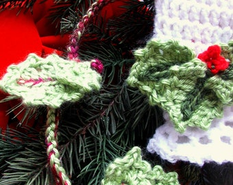 Sale on NEW DECEMBER Pattern Combo - Instant Download - Fast and Easy dc crochet Baby Cap with Holly Applique and Garland Patterns
