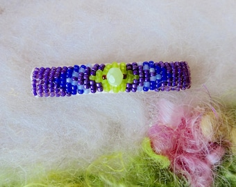Beaded Hair Clip Glass Seed Beads Indian Bead Stich Boho Hippie Beaded Barrette Vegan Made By Hand