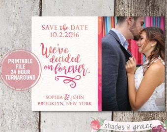 Printable Save the Date Cards, Printed Watercolor Save the Dates, Wedding Announcement, Engagement Photo Save the Dates, Pink Watercolor