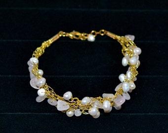 Rose Quartz and Fresh Water Pearl Wire Crochet Bracelet