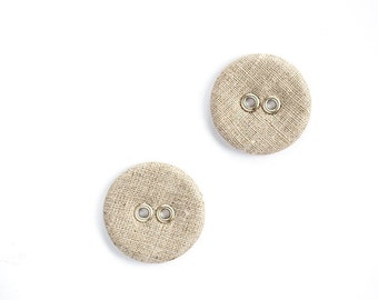 Large linen buttons - Set of two natural organic linen fabric covered buttons in vintage rustic style - Custom color Lithuanian linen