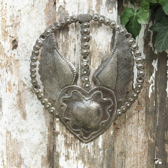 """Religious Home & Décor, Rosary, Heart with Wings, Devotional Art, Handmade in Haiti 7.25 """" X 8.25"""""""