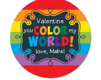 Valentine Stickers, You Color My World, Rainbow Valentine Day Gift Favor Tags, Personalized Classroom Valentines for Kids