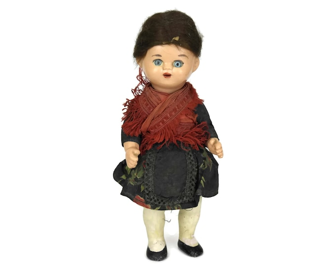 Antique Celluloid Doll with Jointed Limbs and Mohair Wig, Glass Eyes and Open Mouth. Stamped VG. German Souvenir Doll.