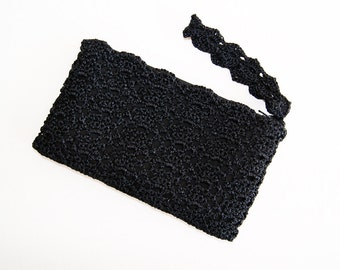 Black Evening Bag, Cocktail Purse, Evening Bag Black, Mother of the Bride Gift, Evening Clutch Purses, Crochet Clutch Purse, Black Wristlet