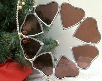 MAUVE stained glass MULTI HEARTS suncatcher or ornament
