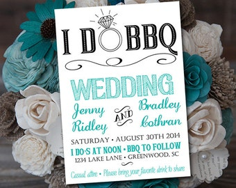 I DO BBQ Wedding Invitation Template Download - Rustic Wedding Printable Template - DIY Wedding Download Blue Teal Black (5x7 after cutting)