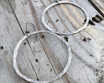 Sterling Silver Rustic Hammered 2 inch Hoop Earrings Handmade Wild Prairie Silver Joy Kruse