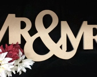 """24"""" Wide Unfinished Mr. & Mrs. Sign A"""