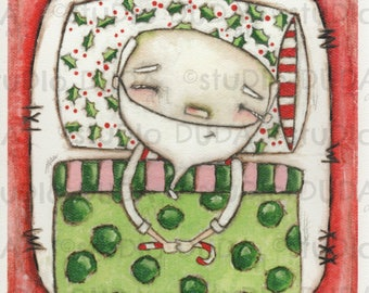 Print of my Original Whimsical Christmas Santa Mixed Media Painting - Snoozin Santa