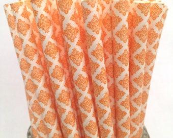 2.85 US Shipping -Orange damask straws - Cake Pop Sticks - Drinking Straws