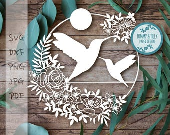 Mummy and Baby Hummingbird Svg Dxf Png Pdf Jpg - Papercutting / Vinyl Template  (Commercial Use)