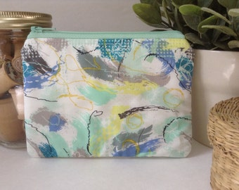 Small Zipper Bag, Zipper Pouch, Makeup Bag, Cosmetics Case, Clutch Purse, Knitting Notions Bag, Gadget Case, Watercolor, Yellow, Mint, Blue