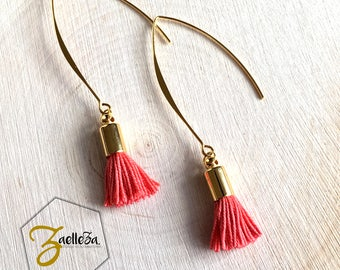 "Coral tassel earrings / gold crochet / beads - model ""Holika"" al. HOLI / / Zaelleza - Sun / / Bohemian / / spring"