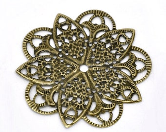 Filigree : 10 pieces Antique Brass Filigree Connectors Links / Antique Bronze Filigree Stampings ... Lead, Nickel & Cadmium Free F14168