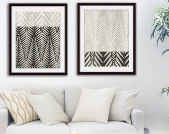 Palm Geo Impressions (Series A) Set of 2 - Art Prints (Featured in Black on Stone Wash) Modern Wall Art