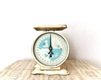 Antique White Metal Nursery Scale, Vintage Baby Scale