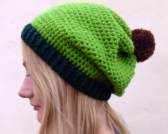Avocado Hat - Avocado Crochet Hat - Avocado Slouchy Beanie  - Vegan Crochet Hat - Crochet Vegan Hat Gift - Vegan Christmas Hat - Green Hat