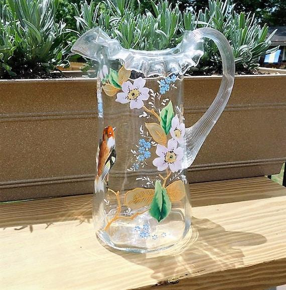 Antique Victorian Art Glass Pitcher / Enamel Hand Painted Bird Flowers / Ruffled Crimped Top