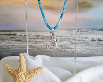 AQUA/BLUE NECKLACE with Seahorse Pendant and Matching Earrings
