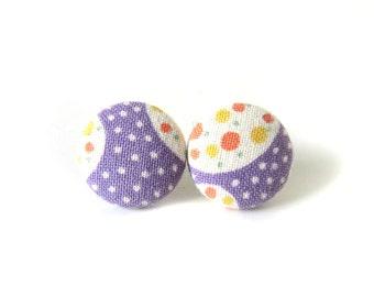 Purple white earrings - fabric button earrings - ultra violet earrings - funky stud earrings - dots circles orange green - round earrings