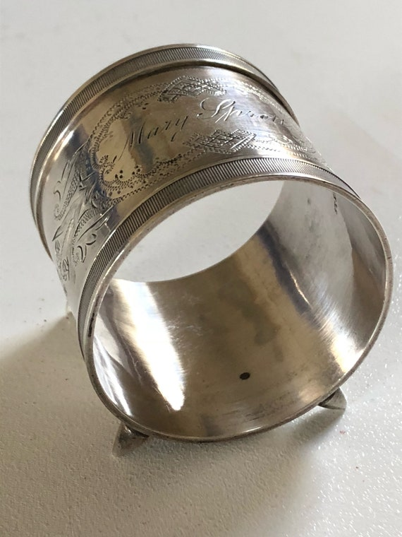 Ca 1875 Antique American Sterling Silver Napkin Ring
