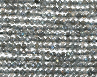 """13"""" Strand Labradorite Faceted Round Beads 2mm."""