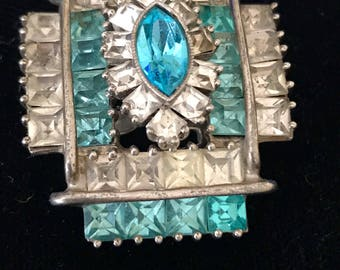 ART DECO DRESS Clip, Square Cut Rhinestones, Marquise Center Stone, Aqua Blue Rhinestones, Clear Rhinestones, Dress Clip