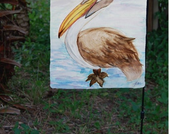 Brown Pelican Garden Flag from art. Available in 2 sizes