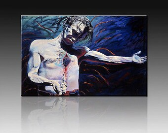 """La Media Cruz .Giclee on canvas 20"""" by 30"""" embellished and signed by the original artist Adan Hernandez"""