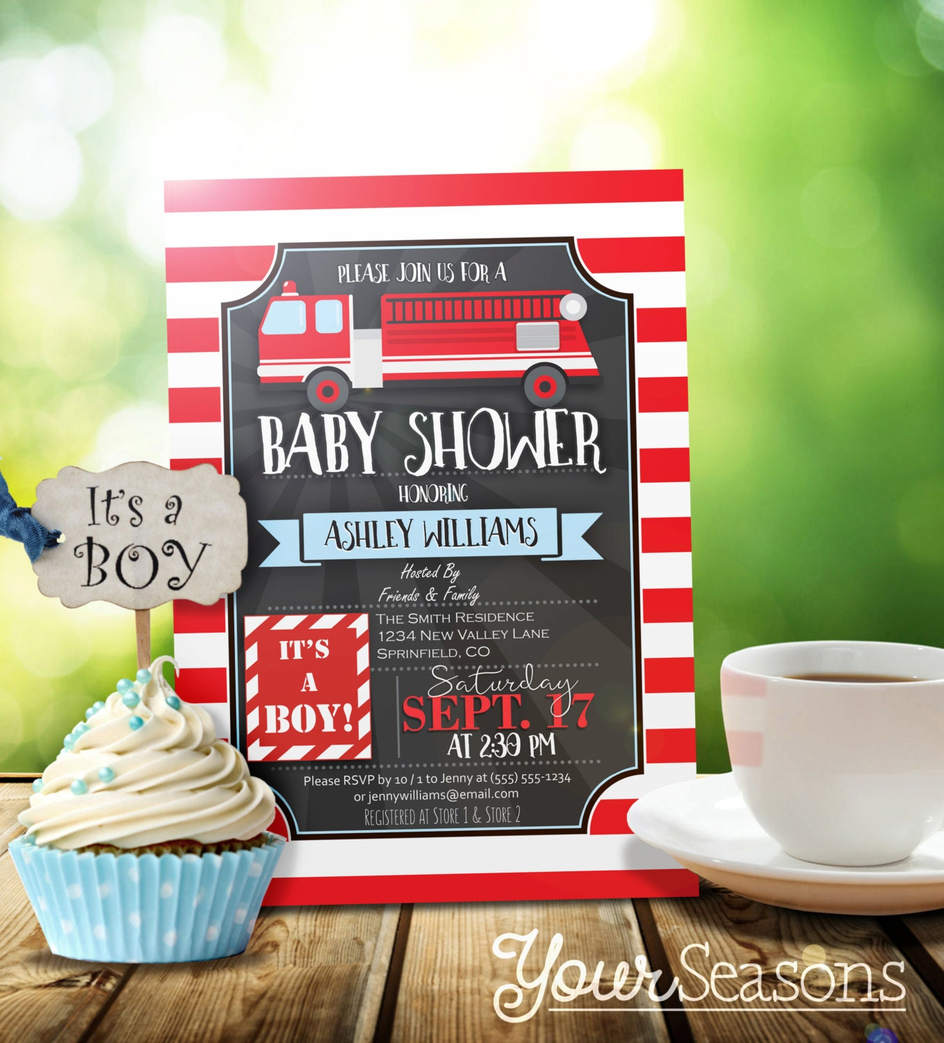 Fire Truck Baby Shower Invitation Personalized Printable
