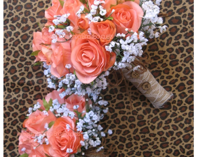 New Artificial Rustic Coral Reef Bridal Bouquet, Silk Coral Reef Wedding Flowers
