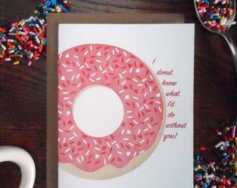 i donut know doughnut pink white sprinkles valentine love sweet greeting card letterpress print dessert breakfast february sweetest day