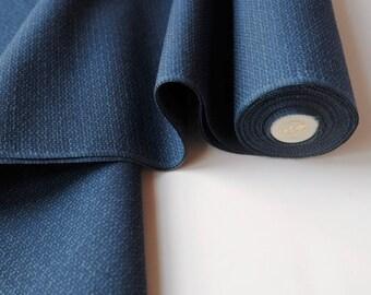 Denim Blue IKAT Wool Kimono Fabric unused bolt by the yard Kikko Ikat Honeycomb Hexagon Geometric IKAT Kasuri weave Wool Blend OFF the bolt