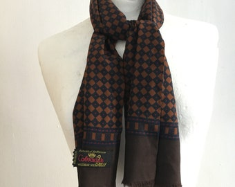 Vintage 1960s 60s Mens Scarf/ Brown Scarf/ Fine Wool Cotton Scarf/ Paisley Scarf/ Mod/ Dandy/ 60s Mens Clothing/ London Vintage/ Scarves