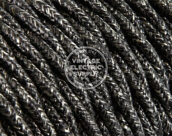 Black Linen Twisted Cloth Covered Wire - Vintage Lamp Cord - Antique Fan Cord **Same Day Shipping**