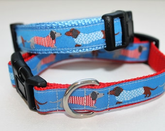 Dachshund Weiner Dog Collar for Small Dogs with Leash Option