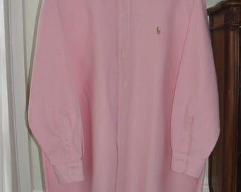 New! Ralph Lauren Yarmouth Pink 100% Cotton Oxford Long Sleeve, Button Down Shirt, Women's XL or Men's Shirt, 16 1/2 x 33 sleeve