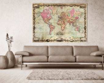 Vintage Antique World Map Print on Matte Paper, Photo Paper, or Stretched Canvas