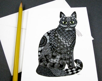 Black Cat Stationery Set - Set of 8 Blank Inside Card Set - Black Cat Halloween notecards