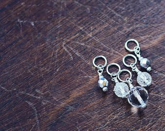 Platinum Hits - Metal & Crystal - Knit/Knitting or Crochet - Stitch Markers or Holders (#1, #2) - Set of 5