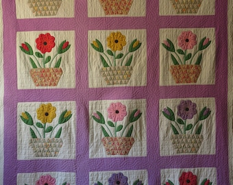 Antique Flower Pot Quilt Hand Stitched Cotton Coverlet Applique Embroidery Vintage Summer Bedding 1940s Twin to Full Size Purple Yellow Red